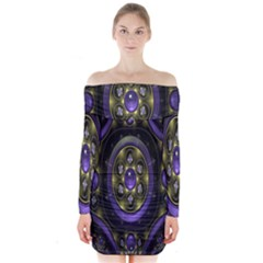 Fractal Sparkling Purple Abstract Long Sleeve Off Shoulder Dress by Nexatart