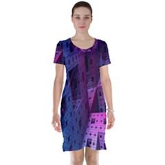 Fractals Geometry Graphic Short Sleeve Nightdress by Nexatart