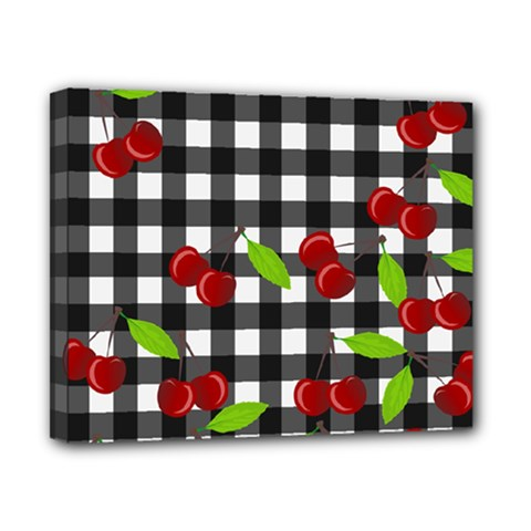 Cherries Plaid Pattern  Canvas 10  X 8  by Valentinaart
