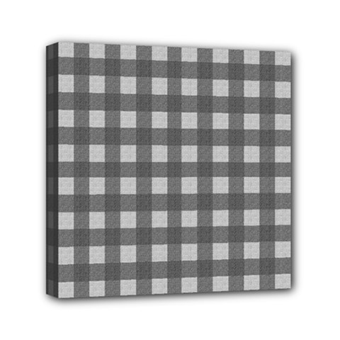 Gray plaid pattern Mini Canvas 6  x 6  by Valentinaart