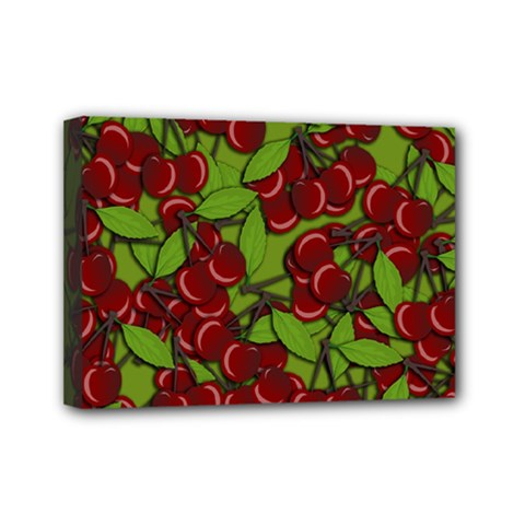 Cherry Jammy Pattern Mini Canvas 7  X 5  by Valentinaart