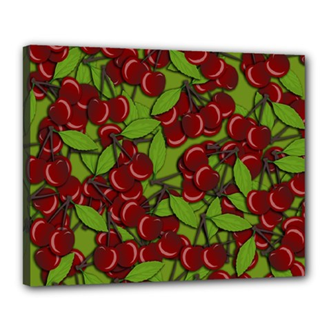 Cherry Jammy Pattern Canvas 20  X 16  by Valentinaart