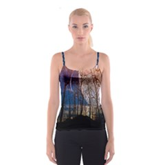Full Moon Forest Night Darkness Spaghetti Strap Top by Nexatart