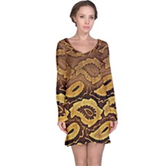 Golden Patterned Paper Long Sleeve Nightdress by Nexatart