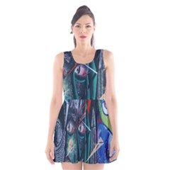 Graffiti Art Urban Design Paint Scoop Neck Skater Dress by Nexatart