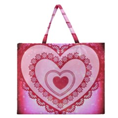 Heart Background Lace Zipper Large Tote Bag by Nexatart