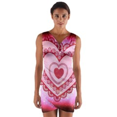 Heart Background Lace Wrap Front Bodycon Dress