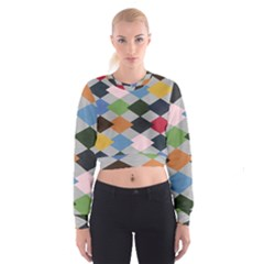 Leather Colorful Diamond Design Women s Cropped Sweatshirt by Nexatart