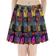 Letters A Abc Alphabet Literacy Pleated Mini Skirt by Nexatart