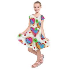 Love Hearts Shapes Doodle Art Kids  Short Sleeve Dress