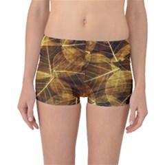 Leaves Autumn Texture Brown Boyleg Bikini Bottoms