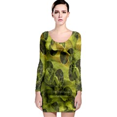 Olive Seamless Camouflage Pattern Long Sleeve Bodycon Dress by Nexatart