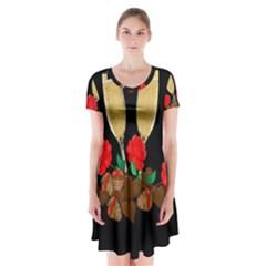 Valentine s Day Design Short Sleeve V Neck Flare Dress by Valentinaart