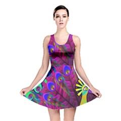 Peacock Abstract Digital Art Reversible Skater Dress