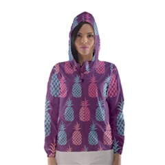 Pineapple Pattern  Hooded Wind Breaker (women) by Nexatart