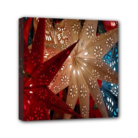 Poinsettia Red Blue White Mini Canvas 6  X 6  by Nexatart