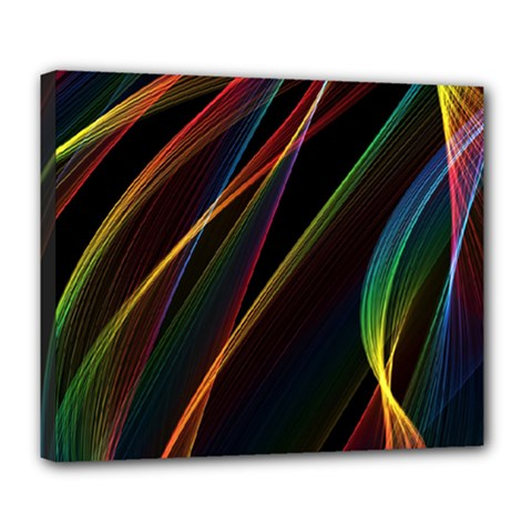 Rainbow Ribbons Deluxe Canvas 24  X 20   by Nexatart