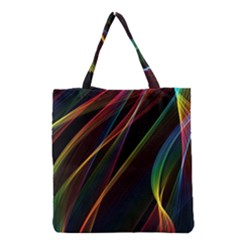 Rainbow Ribbons Grocery Tote Bag by Nexatart