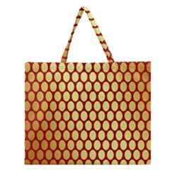Red And Gold Effect Backing Paper Zipper Large Tote Bag by Nexatart
