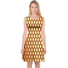 Red And Gold Effect Backing Paper Capsleeve Midi Dress