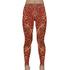Red Tile Background Image Pattern Classic Yoga Leggings by Nexatart