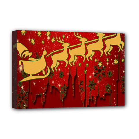 Santa Christmas Claus Winter Deluxe Canvas 18  X 12   by Nexatart