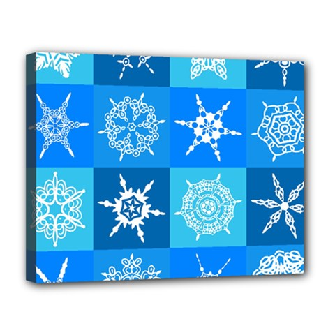 Seamless Blue Snowflake Pattern Canvas 14  X 11  by Nexatart