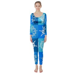 Seamless Blue Snowflake Pattern Long Sleeve Catsuit