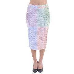 Seamless Kaleidoscope Patterns In Different Colors Based On Real Knitting Pattern Velvet Midi Pencil Skirt by Nexatart