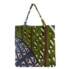 Shadow Reflections Casting From Japanese Garden Fence Grocery Tote Bag
