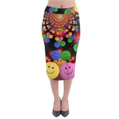 Smiley Laugh Funny Cheerful Midi Pencil Skirt by Nexatart