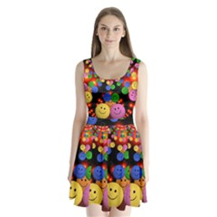 Smiley Laugh Funny Cheerful Split Back Mini Dress