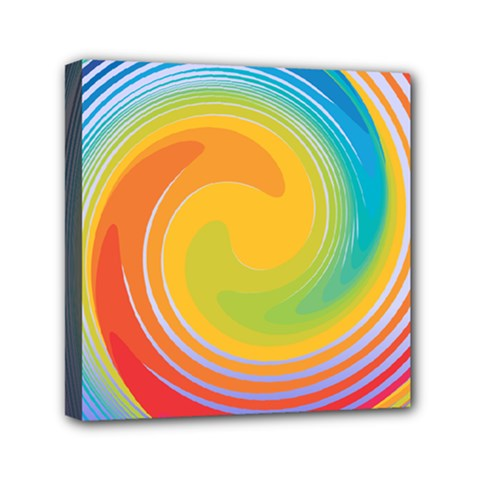 Rainbow Swirl Mini Canvas 6  X 6  by OneStopGiftShop