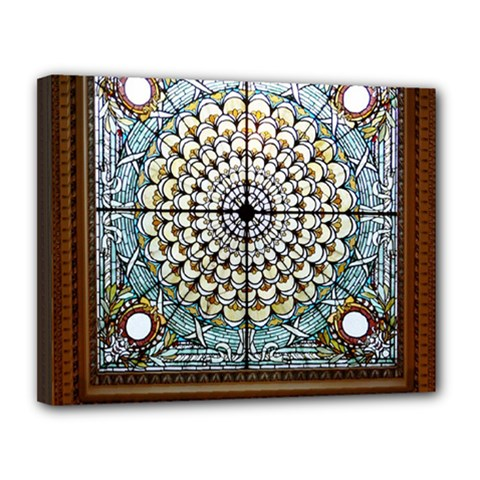 Stained Glass Window Library Of Congress Canvas 14  X 11  by Nexatart