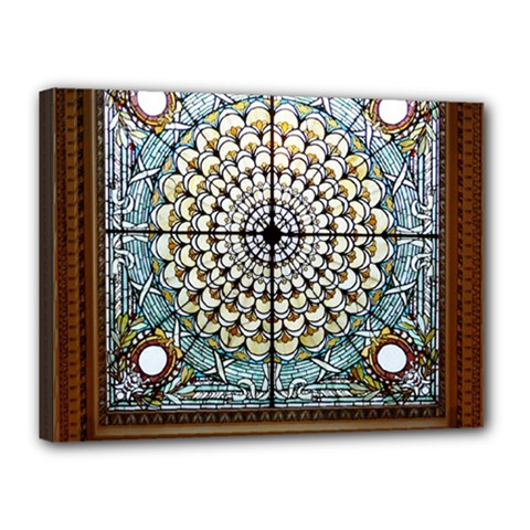 Stained Glass Window Library Of Congress Canvas 16  X 12  by Nexatart