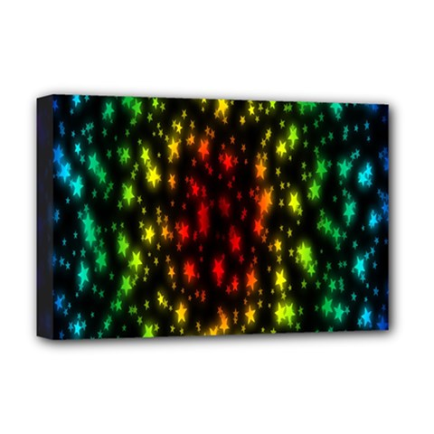 Star Christmas Curtain Abstract Deluxe Canvas 18  X 12   by Nexatart