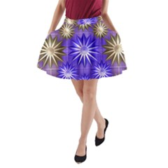 Stars Patterns Christmas Background Seamless A Line Pocket Skirt by Nexatart