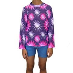 Stars Patterns Christmas Background Seamless Kids  Long Sleeve Swimwear by Nexatart
