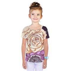 Texture Flower Pattern Fabric Design Kids  One Piece Tee