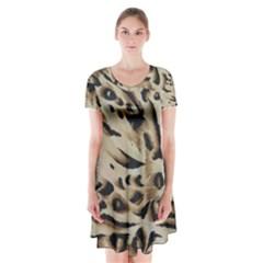 Tiger Animal Fabric Patterns Short Sleeve V Neck Flare Dress by Nexatart