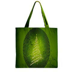 Vector Chirstmas Tree Design Zipper Grocery Tote Bag by Nexatart