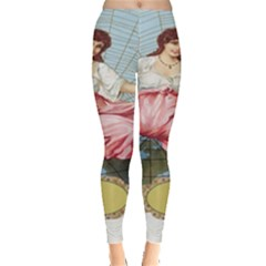 Vintage Art Collage Lady Fabrics Leggings  by Nexatart