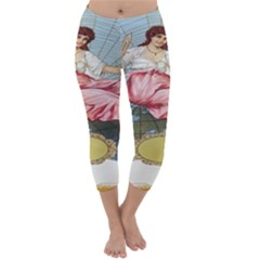 Vintage Art Collage Lady Fabrics Capri Winter Leggings  by Nexatart
