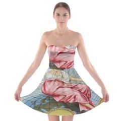 Vintage Art Collage Lady Fabrics Strapless Bra Top Dress by Nexatart