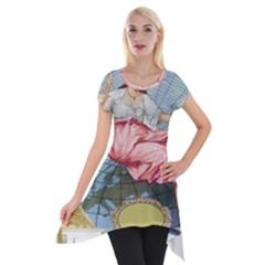 Vintage Art Collage Lady Fabrics Short Sleeve Side Drop Tunic by Nexatart