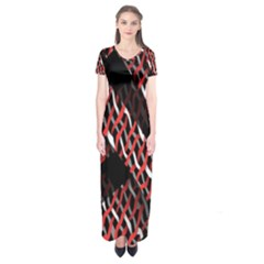 Weave And Knit Pattern Seamless Short Sleeve Maxi Dress
