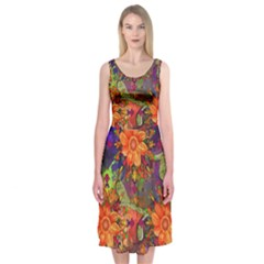 Abstract Flowers Floral Decorative Midi Sleeveless Dress by Amaryn4rt