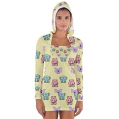 Animals Pastel Children Colorful Women s Long Sleeve Hooded T Shirt