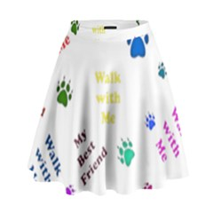 Animals Pets Dogs Paws Colorful High Waist Skirt by Amaryn4rt