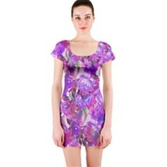 Flowers Abstract Digital Art Short Sleeve Bodycon Dress by Amaryn4rt